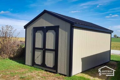 utility shed with black roof
