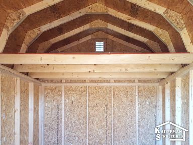 interior construction of a high barn storage shed