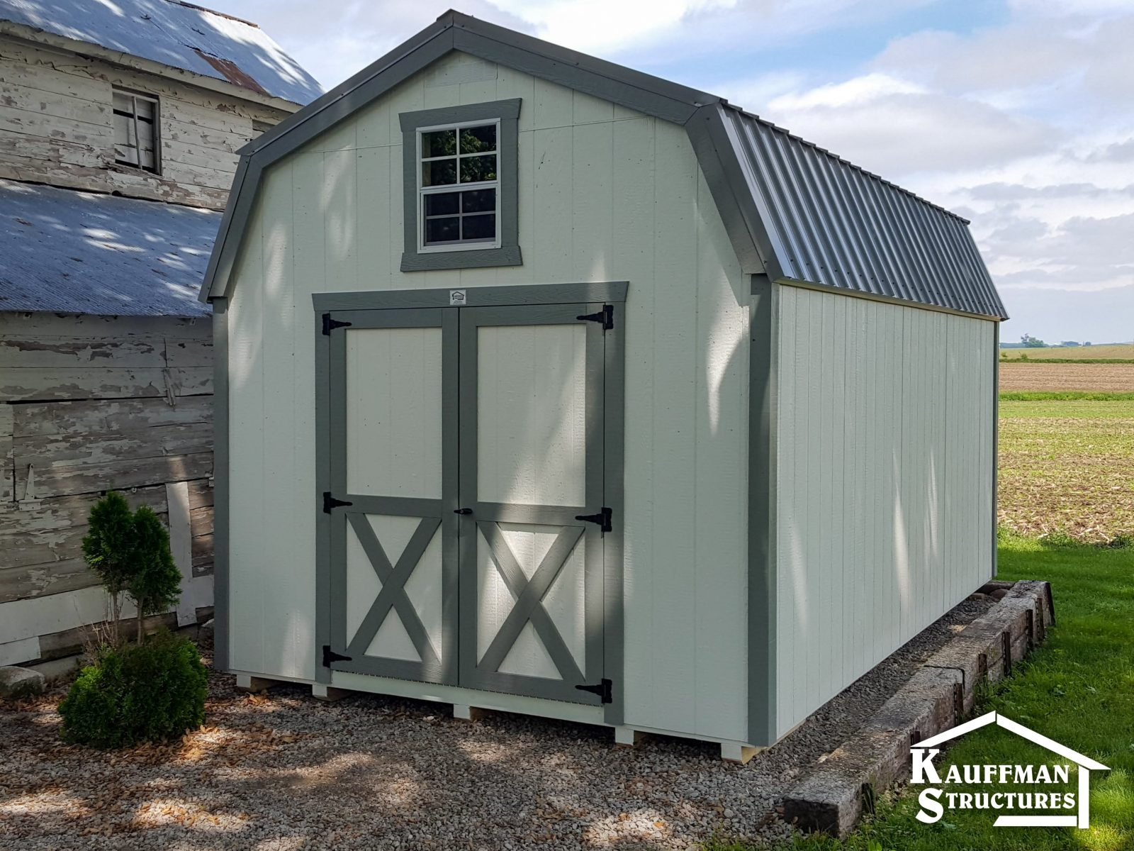 shed with a gravel pad