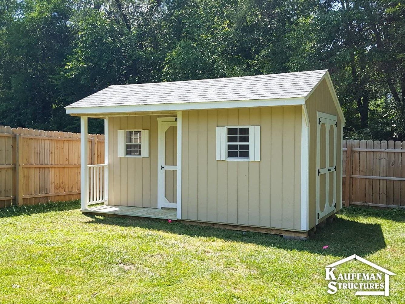 storage shed with a corner porch, in knoxville iowa