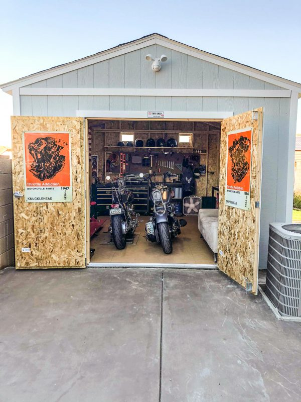 backyard motorcycle shed iowa