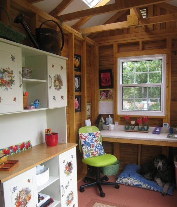 workbench in workshop shed